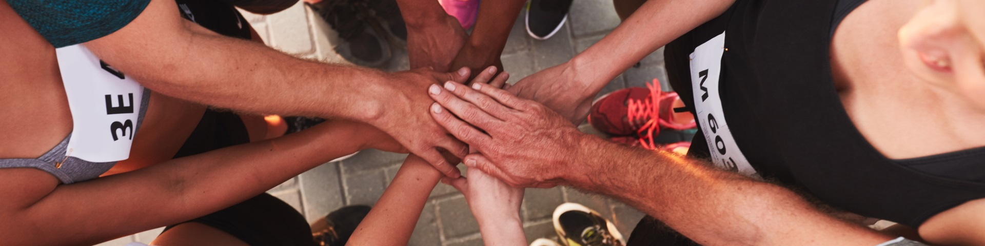 Group huddle of hands