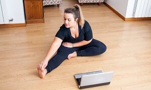 Woman doing home work out