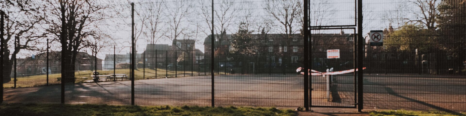 Closed outdoor football pitch