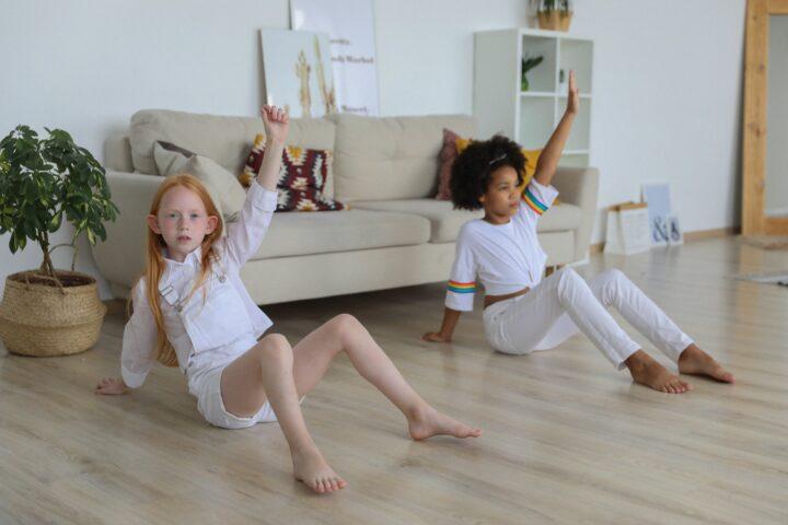 Two children dancing