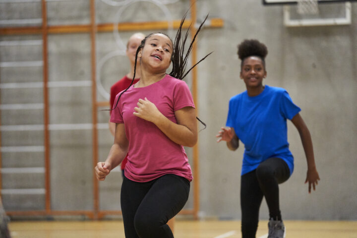 Young people exercising